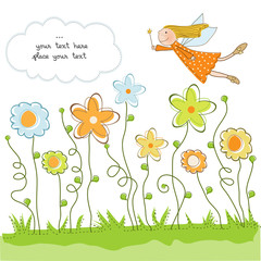 cute floral background with fairy