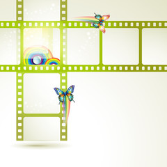 Film frames with butterflies and colored circles