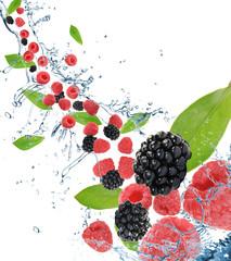 Fresh berries in motion