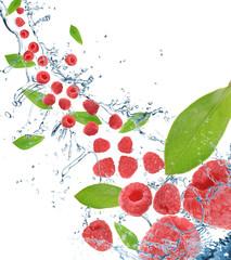Fresh raspberries in motion