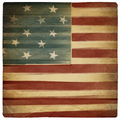 Vintage square shaped old american patriotic background. Isolate