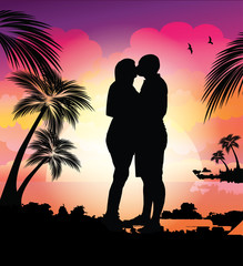 Couple on the beach/Sunset kiss