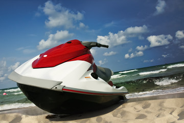 Foto op Canvas Water Motor sporten Jet ski shore