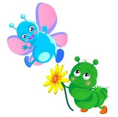 Влюбленная гусеница дарит бабочке цветок