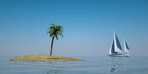 EInsame Insel mit Segelboot