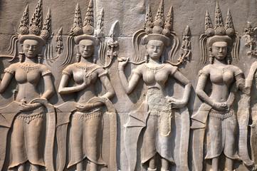 Historic rock art of goddess at Angkor, Cambodia