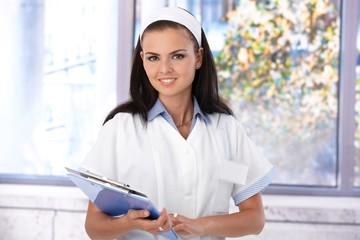 Portrait of attractive nurse smiling