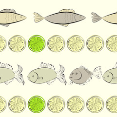 Seamless background with fish and lemon