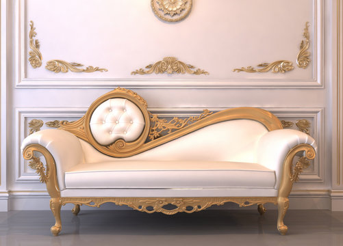 Luxurious leather sofa with frame in royal interior