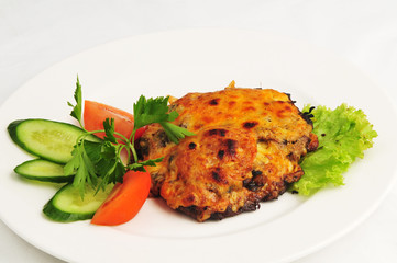 The baked meat with vegetables