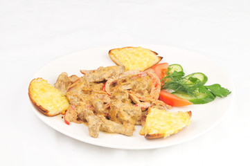 Meat prepared with vegetables