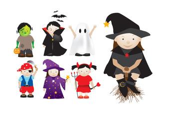 Poster de jardin Creatures childrens dressing up in fancy dress for parties and halloween