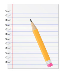 Paper notebook with orange pencil