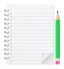 Vector paper notebook with green pencil