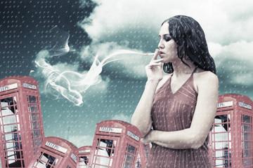 beauty young woman smoking