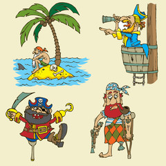 Set of cartoon pirate elements