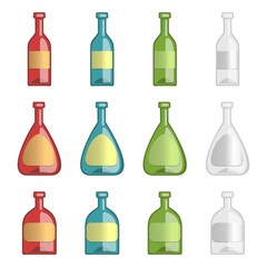 Vector collection of alcohol bottles