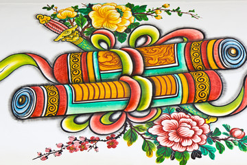 Art thai painting on wall in temple