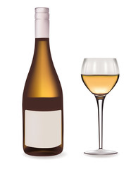 Bottle of white wine and a wine glass. Vector illustration.