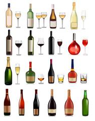 Big set of different drinks. Vector illustration.