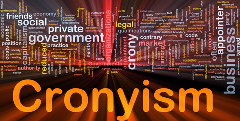 Cronyism background concept glowing
