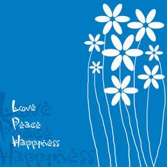 Grusskarte Blümchen blau - Love Peace Happiness