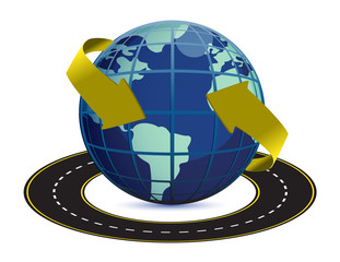 illustration of road around the earth on white background
