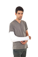 Young man with injured arm