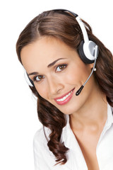 Young support phone operator in headset, isolated on white