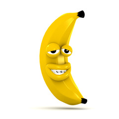 3d Banana looks very happy with himself
