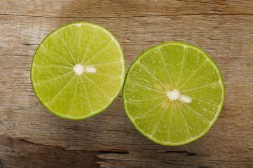 lime slices  on wood