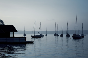 boats early morning mood