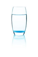 fresh water in glass. Isolated on white background