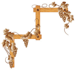 Wooden corner with grapes