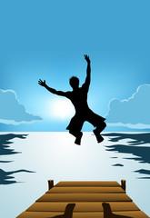 Jumping happy man