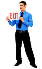 Happy man showing exit