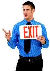 Portrait of a man showing exit