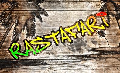 Rastafari Grafitti auf altem Holzbrett