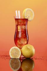 Manhattan Iced tea in a hurricane glass