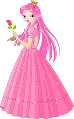 Beautiful pink princess with rose