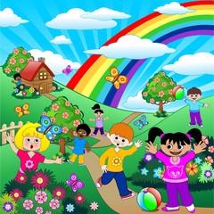 Poster Regenboog Bambini Giocano su Prati Verdi-Children on Green Meadows-Vector