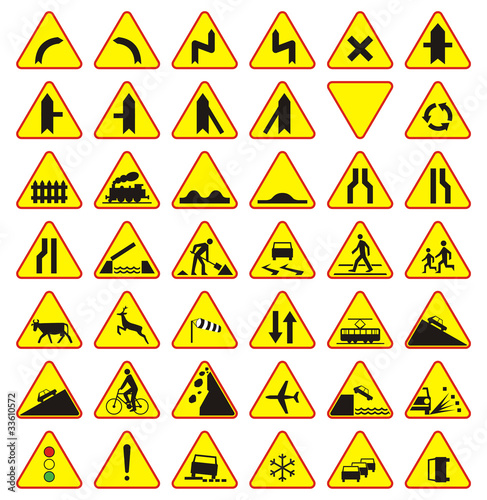 Quot Znaki Drogowe Paczka Znaki Ostrzegawcze Quot Stock Image