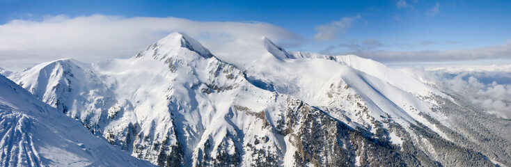 Winter mountains panorama. Bulgaria, Bansko