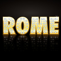 Rome 3D gold and diamonds font