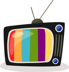 retro tv with colour screen