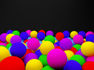 Color balls  on the black background