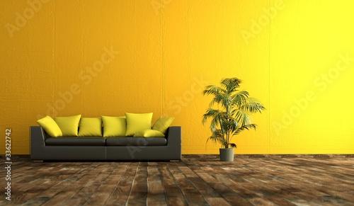 wohndesign gelbe wand stockfotos und lizenzfreie bilder auf bild 33622742. Black Bedroom Furniture Sets. Home Design Ideas