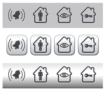 Icônes alarme et sécurisation habitat