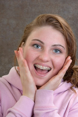 Smiling Teen Showing New Braces