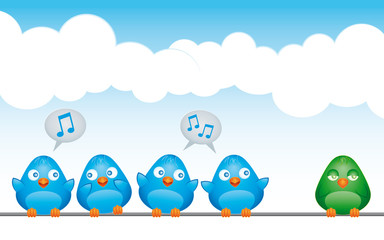 Blue birds making fun of a green bird
